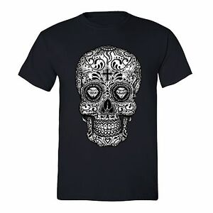 Men-039-s-Sugar-Skull-Day-of-the-Dead-Black-Mexican-Gothic-Dia-Los-Muertos-T-Shirt
