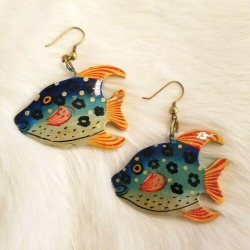 Fish Earrings Dangle Earrings Colorful Fish Wooden Fish Earrings Fish Ocean Nautical Jewelry Nautical Handpainted Earrings Jewelry