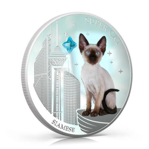 "GEM STONE 1Oz Silver Coin Fiji 2013 2$ /""Dogs /& Cats/"" Super Cat Siamese"