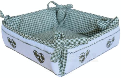 GRENIER tissu Maison de campagne Vert Blanc à Carreaux /& Coeur Pain Panier Serviettes 35x35 cm