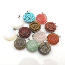 24pcs/lot Carved Rose Shape Natural Semi-precious Stone Pendants For Necklace