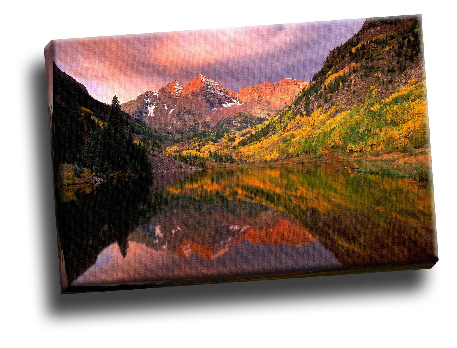 Maroon Bells at Sunrise, Aspen, Farbeado Giclee Canvas Picture Picture Picture Art 91438d