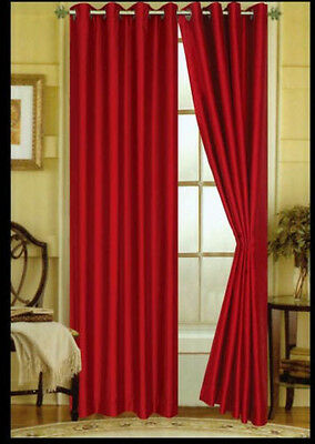 """FAUX SILK  Window Treatments Curtains Drape GROMMETS 63"""" 84"""" 108"""" BRIGHT RED"""