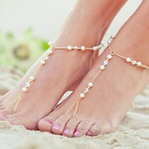 10 A Pair gold Foot Jewelry Ankle Bracelet Pearl Chain Anklet Toe