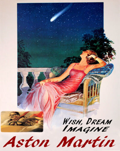 POSTER WISH DREAM IMAGINE ASTON MARTIN AUTOMOBILE DRIVING VINTAGE REPRO FREE S//H