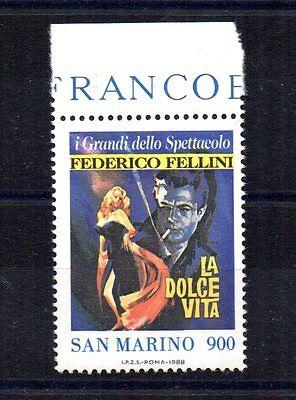 Sonderabschnitt Repubblica San Marino 1988 Federico Fellini 900 Lire Unif Europa 1234 Mnh** Bdf Elegante Form