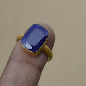 Natural Faceted Blue Sapphire Gemstone 925 Sterling Silver Designer Gift Ring