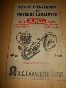 NOTICE MOTEUR LAVALETTE 50/1 50/2 CYCLOMOTEUR 49CM MOBYLETTE...