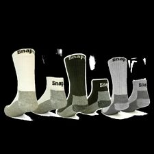 6 Pairs Mens Black Snap On Crew Socks L ~ FREE Shipping ~ MADE IN USA     New!
