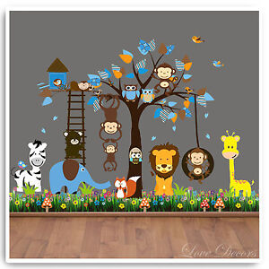 Details About Animal Wall Stickers Owl Monkey Jungle Zoo Tree Nursery Baby Bedroom Decals Art
