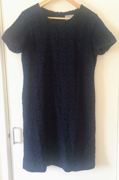 NEARLY NEW WORN ONCE PURE COLLECTION NAVY CROCHET DRESS SIZE