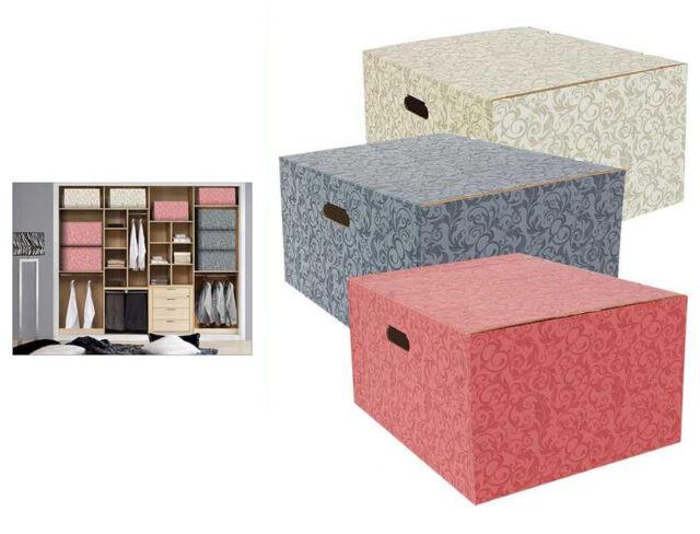 Set of 3 cardboard wardrobe organisation storage decorative boxes 45x35x20cm  sc 1 st  eBay & Set of 3 Cardboard Wardrobe Organisation Storage Decorative Boxes ...