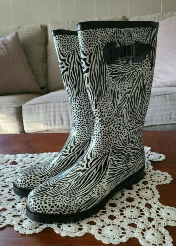 RASOLLI Black White Zebra Print Rubber Muck Rain … - image 1