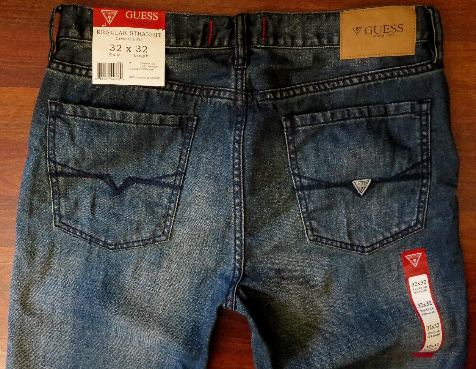 Raten Gerades Bein Bein Bein Jeans Herren Größe 33 X 34 Klassisch Distressed Mittel Dunkel 5c650d