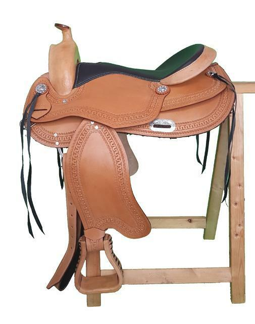 Treeless Western saddle TULSA Eco made of buffalo leather, exchangeable pommel