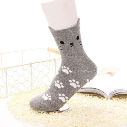 5Pairs Women Socks Lovely Kitty Footprints Ankle-High Socks Cotton Hosiery