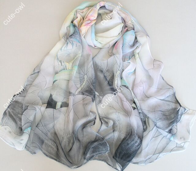 New Lady's Gray Georgette Long Wrap Shawl Beach Silk Scarf- lotus flower Fashion