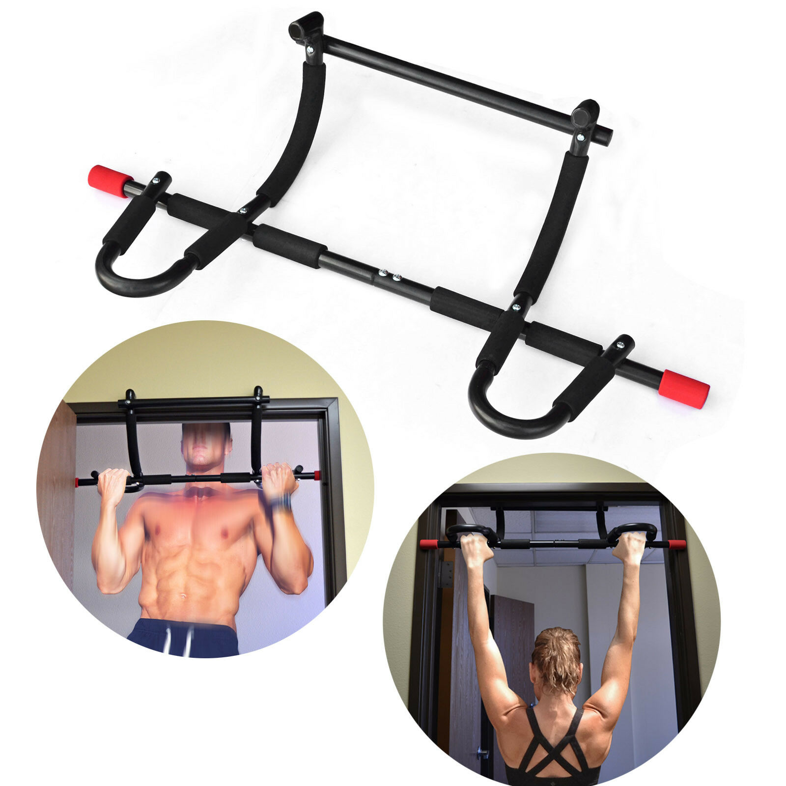 Pull Up Bar Mounted Doorway Extreme Home Gym Fitness Workout Heavy Duty