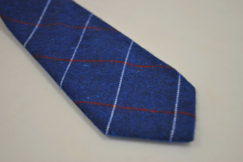 Frederick Thomas Designer Cotton Mens Tie Royal Blue Check Plaid Red White