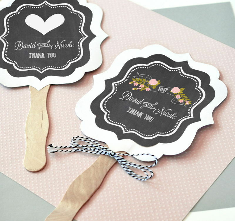 Personalized Chalkboard Vintage Paddle Hand Fans Wedding Bridal Shower Favors