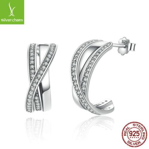 Véritable 925 Sterling enlacés Avec Clair Zircone Cubique Boucles d/'oreille pour femmes Lady Jewelry