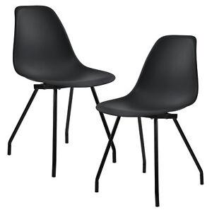 en.casa] 2x Diseño Sillas Comedor Negro Silla plástico Plástico ...