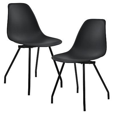 [en.casa]® 2x Design Stühle Esszimmer Schwarz Stuhl Plastik Kunststoff Retro