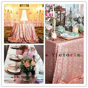 Details About Rose Gold Sequin Table Cloth, Shimmer Sparkly Overlays  Tablecloths For Wedding