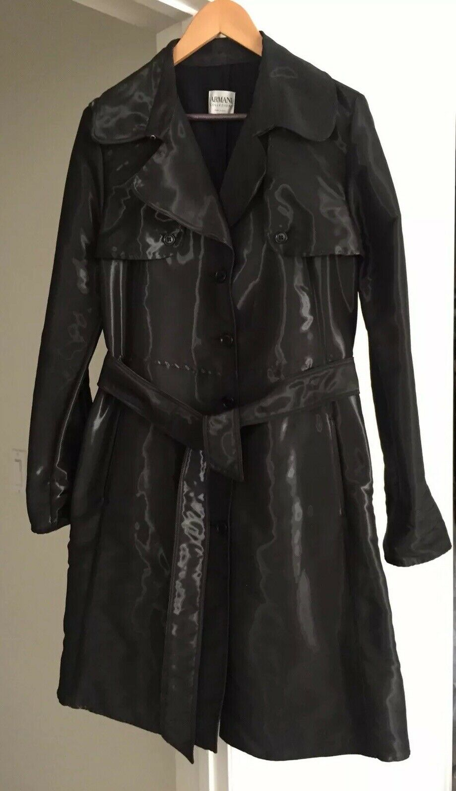 Armani Collezioni Metallic Charcoal Belted Trench FR 46 US 10