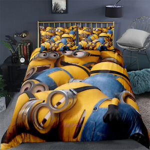Yellow-Minions-Single-Double-Queen-King-Size-Bed-Doona-Duvet-Quilt-Cover-Linen