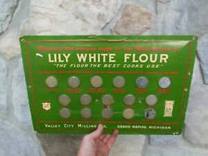 """Vintage Valley City Milling Co Crystaloid Sign 18"""" x 12"""" Lily White Flour Rare"""