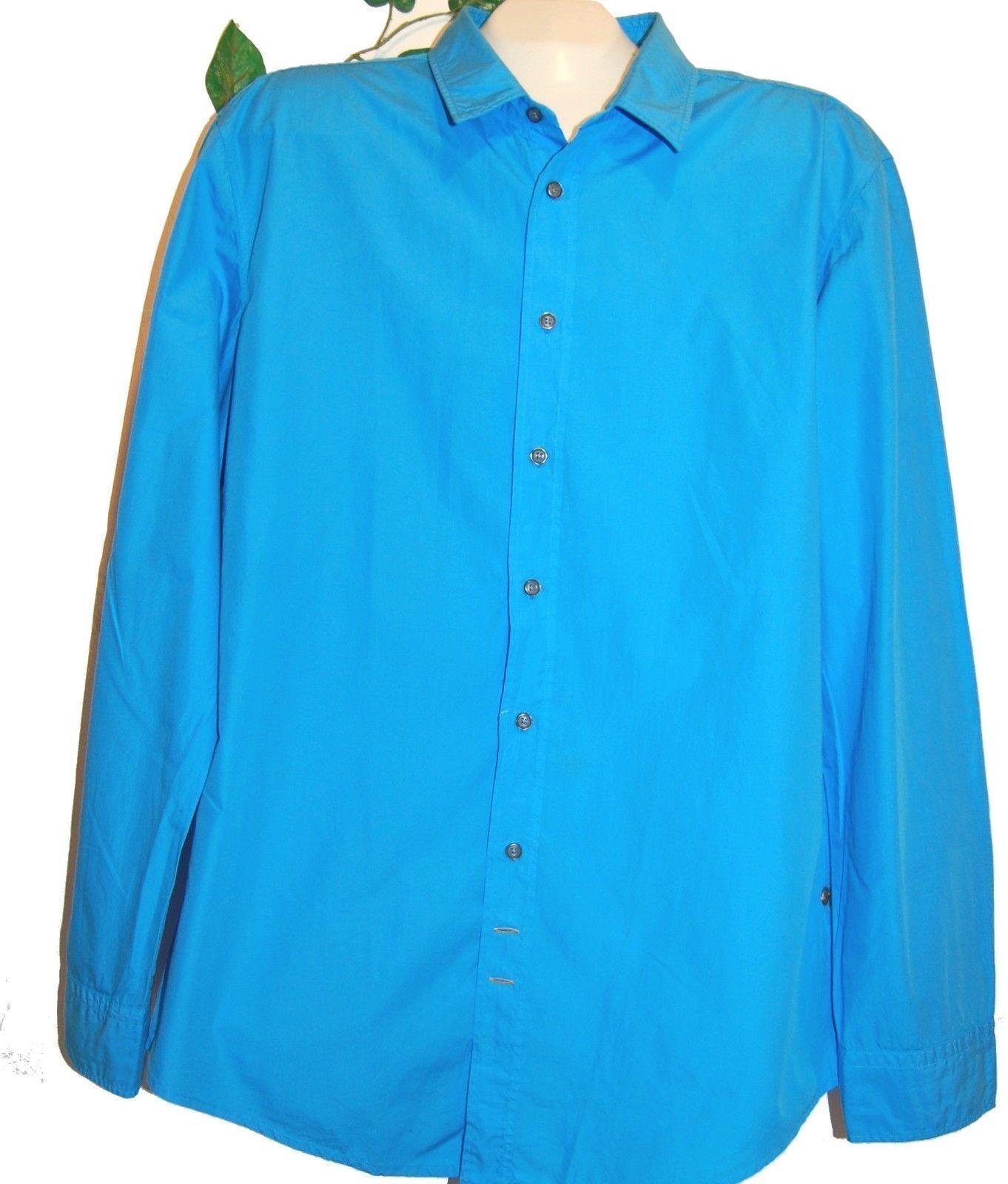 orange Hugo by Boss Men's bluee Cotton Dress Casual Button Front Shirt Sz 2XL