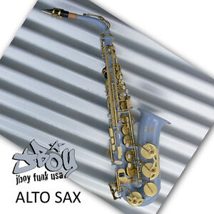Air-Force-Grey-Alto-Sax-New-Funky-JBOY-Eb-Saxophone-Case-and-Accessories
