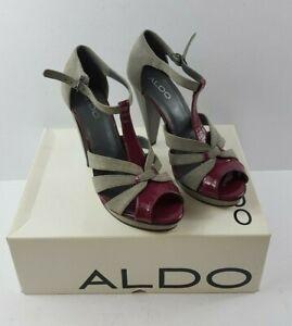 Aldo-Ladies-Leather-High-Heel-sandals-in-grey-suede-amp-purple-patent-size-5-38