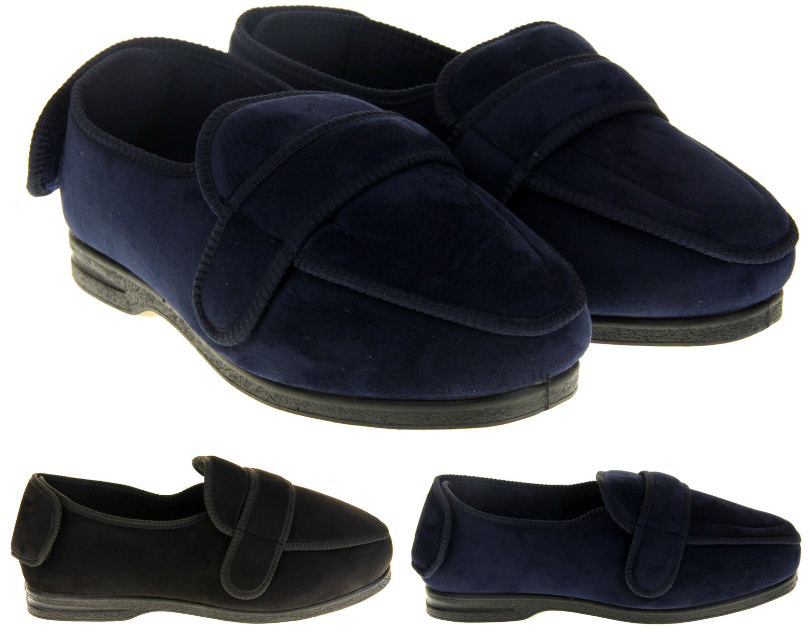 Mens Coolers EEE Extra Wide Fitting Touch Fastening Slippers Size 7 8 9 10 11 12