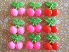 9 x Small Mixed Cherry Resin Flatback Cabochon Decoden Crafts Embellishments UK