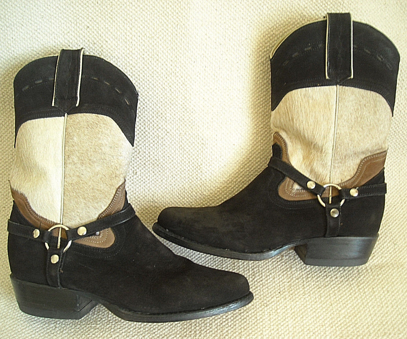 REBELDE BOOTS - BROWN SUEDE w. PLATINUM, WESTERN BOOTS - SIZE  25-1 2 (MEXICO)