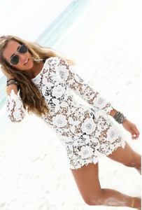 Women-Bikini-Cover-Up-Long-Sleeve-Lace-Bathing-Suit-Beach-Dress-Swimwear