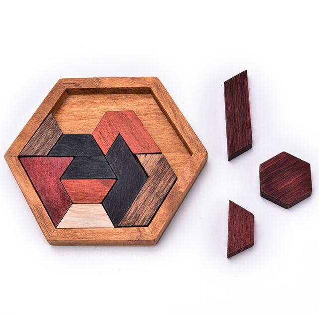 Unique Tangram Wooden Jigsaw Educational Kids Toy Brain Teaser Jigsaw Puzzle LJ