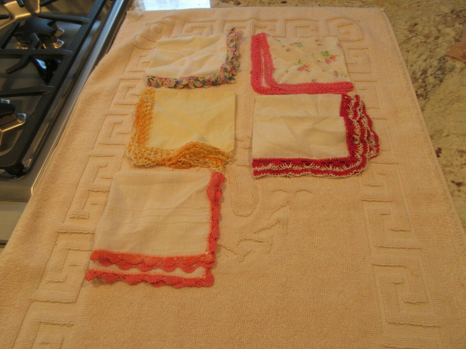 Lot of 5 Pretty Ladies HANDKERCHIEFS , Vintage , Fringe