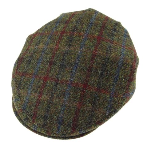 Authentic Harris Tweed Flat County Cap Green Check