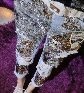 Fashion Bling Womens Girl Jeans Sequins Night Club Ripped Hole Pant Chic Trouser