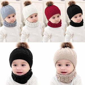 54cc7cda8ef Toddler Kids Baby Boy Girl Winter Warm Knitted Crochet Beanie Hat ...