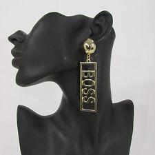 New Women Gold Metal Dangle BOSS Trendy Hip Hop Fashion Hook Long Earrings Set
