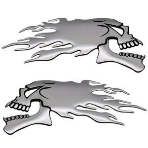 2x-Totenkopf-Flammen-3D-Sticker-Aufkleber-Tribal-Auto-Motorrad-Silber-gespiegelt