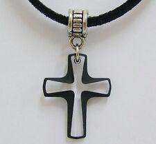 Made with Swarovski Crystal Pendant Cord 6860 Cross Jet Black Tribal Bail 20mm