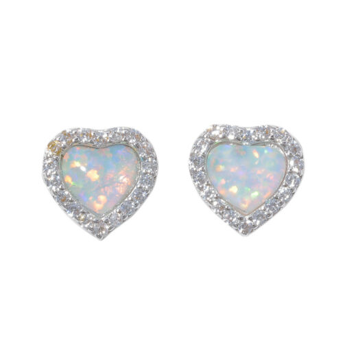 En forme de cœur Blanc Opale de Feu Zircone cubique Argent Pour Femmes Bijoux Clous d/'oreilles OH4534