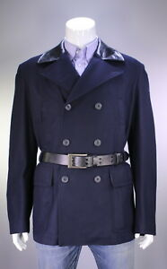 NWT-New-BELSTAFF-Recent-Navy-Blue-Wool-w-Leather-Belted-Peacoat-Jacket-XL