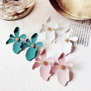 Fashion-Wedding-Bridal-Leather-Flower-Ear-Earrings-Stud-Womens-Jewellery-Party