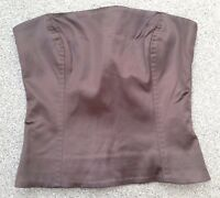 GORGEOUS BONED STRAPLESS BROWN SATIN FEEL BUSTIER BODICE BY COAST SIZE 10